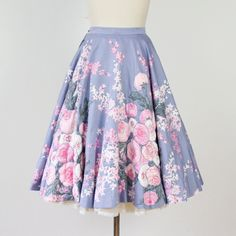 Periwinkle Full Circle Skirt with Quilted Pink Floral Design