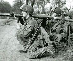 American Airborne soldier in 1945 with a M18 recoilless rifle, Germany.