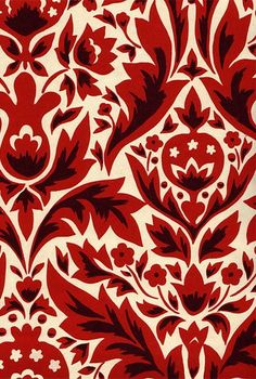 red wallpaper for interiors | DAMASK WALLPAPER - RED