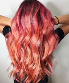 Loving this tequila sunrise hair color!