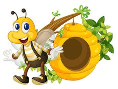Cartoon bee and beehive vector material 09