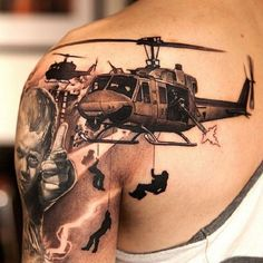 Interest tattoo in one color on shoulder. Very often in poor countries, children are forced to actively participate in the war and are engaged as soldiers.