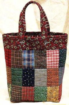 Country Tote Bag Pattern - Click Image to Close Patchwork Patterns, Bag Patterns To Sew, Patchwork Bags, Quilted Bags Patterns, Crazy Patchwork, Sacs Tote Bags, Quilted Tote Bags, Reusable Tote Bags, Bag Quilt