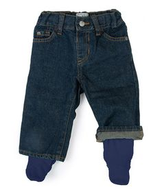 Another great find on #zulily! Blue Denim Organic Footie Pants - Infant & Toddler #zulilyfinds