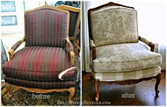 "Serendipity Refined: Milk Paint ""Stained"" French Bergere Style Chair Makeover"
