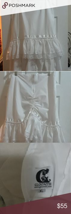 White lace skirt Goth design skirt in white with drawstring gathers in back. Higher in front; longer in back. 100% cotton. Gloomth Skirts High Low