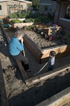 raised beds -  What if I had raised beds of varying heights?  Wide enough paths for accessibility.