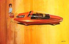"""Wayne Cherry's """"Runabout"""" Design Concept was another paper-only concept that illustrated possible future design language offerings and cockpit arrangements (Photo: Mike Jensen) Flying Vehicles, Car Camper, Campers, High Museum, Solar Car, Futuristic Cars, Transportation Design, Retro Futurism, Future Car"""