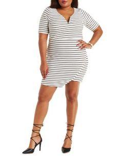 Plus Size Notched Neck Bodycon Dress #CharlotteRussePlus