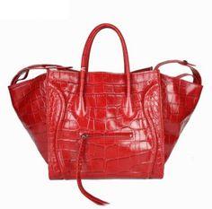 9d34f50dc8 Celine Bags Boston Crocodile Leather Red Exquisite