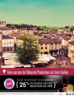 #Bon_Plan Gourmets : Foire aux Vins de Printemps de l'Union de producteurs Saint-Emilion à Saint-Émilion : 25% de remise + d'info sur http://bit.ly/1DNMfFo