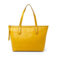 Fossil Sydney Shopper in Golden Yellow Sydney, Brown Leather Totes, Leather Bags, Fossil Bags, Shopper Tote, Womens Tote Bags, Handbag Accessories, Coach Bags, Purses And Bags