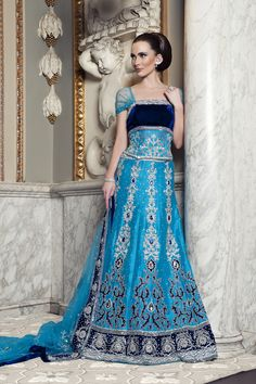 WG10 - Blue raw silk Asian lengha with royal blue velvet patch work and silver and diamantes