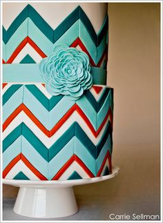 Aqua and Coral chevron cake - my brothers wedding colors