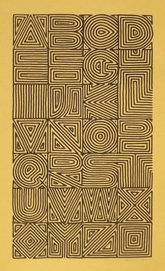 Calligraphy and Lettering Design- Broadsides & Books. Maze alphabet by Sally Wightkin. wonder if a single word could be read as well as the whole alphabet? Alphabet A, Alphabet Design, Calligraphy Alphabet, Typography Letters, Graphic Design Typography, Lettering Design, Hand Lettering, Typography Poster, Japanese Typography