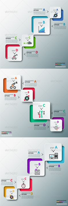 Buy Modern Infographics Process Template Versions) by Andrew_Kras on GraphicRiver. Modern infographics process template with paper rectangles with rounded corners, icons and text for 4 options in thre. Process Infographic, Infographics Design, Create Infographics, Web Design, Slide Design, Vector Design, Logo Design, Business Presentation, Interface Design