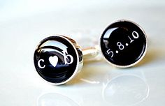 Want to give these to someone at my wedding -dad, groom?  Groom gift heart you and date cufflinks -  black and white heirloom keepsake - gift for him. $42.00, via Etsy.
