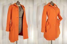 1960s Coat// Mod Coat// Pea Coat// Orange Coat// Fit and Flare Coat// 1960s Mod Winter Coat// Pumpkin Orange Coat// 60s Orange Wool Coat M by RockabillyRavenVtg on Etsy
