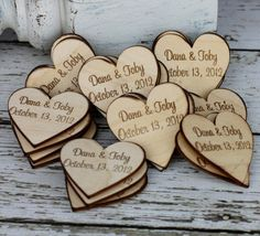 bridal favors - wooden magnetic hearts