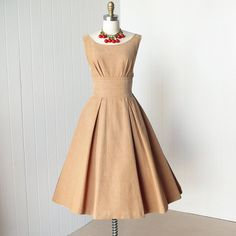 vintage 1950's dress... classic BETTY BARCLAY camel wale corduroy shelf-bust full skirt pin-up dress