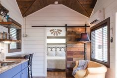 eliminate the window above the dining area for a tv; add pantry cabinet by the fridge and cabinets in the kitchen. use a real sink in the bathroom and we're set! Tiny Houses For Rent, Best Tiny House, Tiny House On Wheels, Tiny House Rentals, Wood Sink, Heating And Air Conditioning, Tiny House Living, Cozy Place, Tiny House Design
