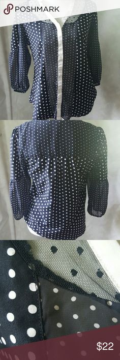 Lauren Conrad polka dot blouse Lauren Conrad polka dot blouse . Button down front with black mesh around front of collar and sheer panel that runs down the front along side the buttons .like new condition. Elastic around arm cuffs-see picture- Lauren Conrad Tops