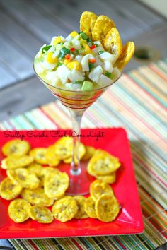Scallop Ceviche with Baked Plantain Chips