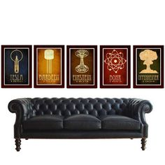 STEAMPUNK POSTERS AND AWESOME BLACK LEATHER TUFFED COUCH