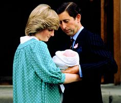 Prince Charles and Princess Diana leave St Mary's Hospital in Paddington with their baby son, Prince William.