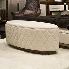 Ottomans and Benches | ... > Benches & Ottomans > OVAL LEATHER UPHOLSTERED OTTOMAN BENCH A2044