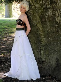 Recycled Military Parachute Skirt with Antique Brass Studs.