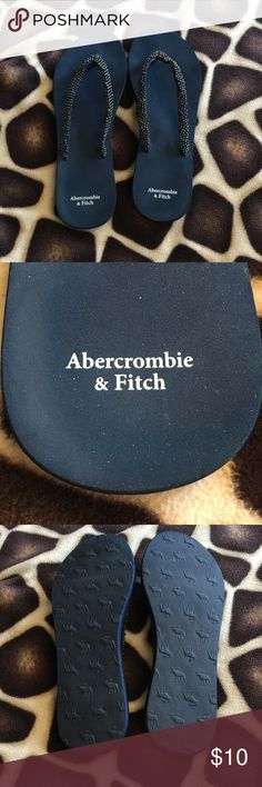 Abercrombie & Fitch beaded Flip Flops Super cute Navy Blue Abercrombie & Fitch Flip Flops :)))) Abercrombie & Fitch Shoes Sandals