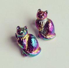 Iridescent Cat Earrings