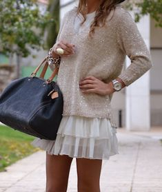 sparkly sweater and ruffled skirt