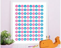 Education printable, Educational poster, Numbers Wall art, Counting Poster, playroom decor, Kids room decor, Nursery wall art, Numbers Chart by sugarpickledesigns. Explore more products on http://sugarpickledesigns.etsy.com