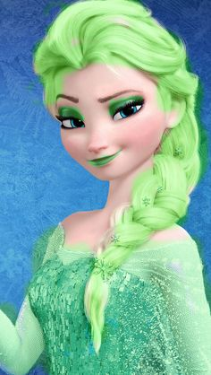 Punk Disney: Elsa with green hair, eye shadow, lipstick, and a green dress. Disney High, Disney Girls, Disney Frozen, Disney Movies, Disney Pixar, Punk Disney, Disney Adoption, Teenage Halloween Costumes, Elsa Hair
