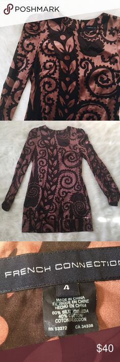 French Connection Patterned Silk Long Sleeve Dress Great condition! No noticeable flaws. Color is truest in second photo  bust 36 inches // length (shoulder to hem) 31.5 inches French Connection Dresses Long Sleeve