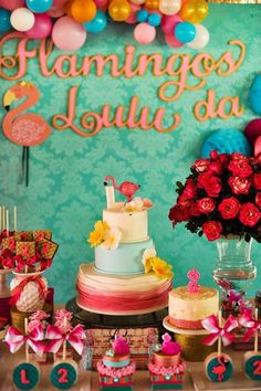 Check out this flamingo birthday party! See more party ideas at CatchMyParty.com!
