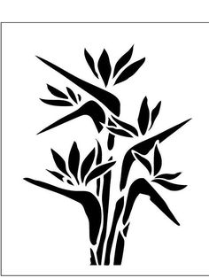 Bird of Paradise Flower on Reusable Laser-Cut Stencil - pearldesignstudio Laser Cut Stencils, Stencil Templates, Stencil Patterns, Stencil Designs, Birds Of Paradise Flower, Gelli Arts, Silhouette Cameo, Tampons, Coloring Book Pages