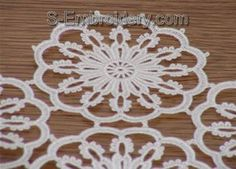 Freestanding lace doily or table runner close-up image