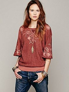 Embellished Bell Sleeve Pullover (Spanish Brick) | Free People