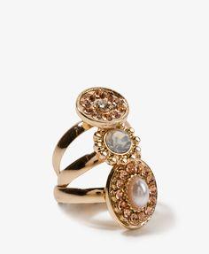 Pearlescent Rhinestone Ring Set
