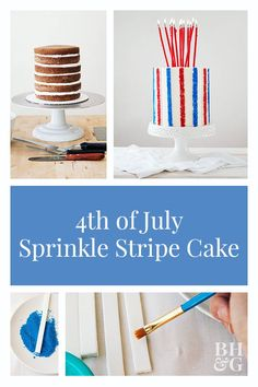 This whimsical cake is cute and so very festive. The playful stripes are taken to new heights when covered in sprinkles. This whimsical cake is cute and so very festive. The playful stripes are taken to new heights when covered in sprinkles. Fourth Of July Cakes, Fourth Of July Food, Striped Cake, Tall Cakes, Layer Cake Recipes, Independence Day, Simple Designs, Sprinkles, Red And Blue