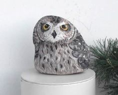 Hand+Painted+Stone+Owl.+River+Rock+Paperweight+Home+by+LadyBugCo