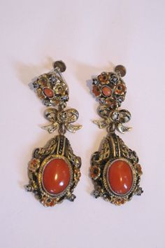 19th Century Austro Hungarian Gilded silver & coral chandelier earrings.$600