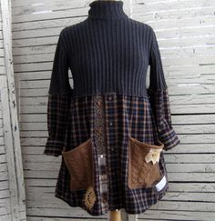 Upcycled Tunic S/M Sweater Tunic Upcycled Clothing by AnikaDesigns