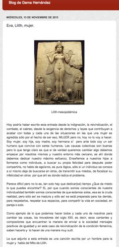 """Habitación de El blog de Gema Hernández. """"Eva, Lilith, mujer"""". Léelo completo aquí: http://elblogdegemahernandez.blogspot.com.es/2013/11/eva-lilithmujer.html?spref=fb"""