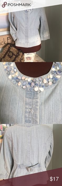 Ruby Rd. Jean jacket💙 Ruby Rd., sz12P, light blue jean jacket with blue stones and beads around the collar, so beautiful. Snap front closure, 2 hip pockets, princess seaming, very slimming, adjustable belt in back. 21in in length, 54% ramie, 33% cotton, 11% polyester, 2% spandex.  Perfect for a tropical vacation, or just walking the beach on a cool evening 🌴🐳🐬🐟🐠🌴 Ruby Rd.  Jackets & Coats Jean Jackets