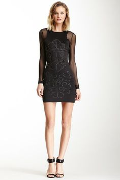 One Dress A Day Antiqua Mesh Sleeve Dress by One Dress A Day on @HauteLook