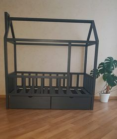 Montessori kids bed, made in Latvia from the highest quality pine tree beams, painted with kids-friendly colors. Montessori Bed, Pine Tree, Kid Beds, Kids Furniture, Beams, Cribs, Colors, Home Decor, Furniture For Kids